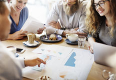 Business Team Meeting Strategy Marketing Cafe Concept Stock Photos