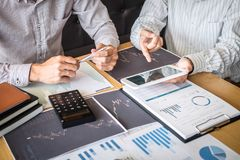 Business team on meeting to planning investment trading project and strategy of deal on a stock exchange with partner, financial. And accounting concept stock images