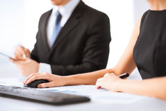 Business team on meeting using computer Stock Photography