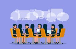 Business team meeting. Vector illustration of meeting. Brainstor. Ming concept. Flat Royalty Free Stock Photo