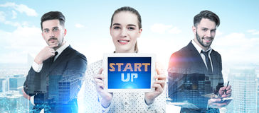 Business team members portrait in a city, startup Stock Photo
