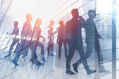 Business team in modern city, skyscraper stock photos