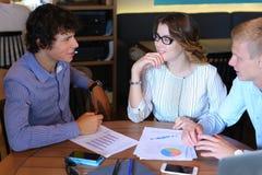 Business team negotiates talk and discuss Stock Photos