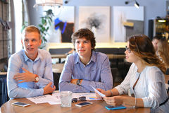 Business team negotiates talk and discuss Stock Photography