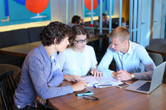 Business team negotiates talk and discuss Royalty Free Stock Photos