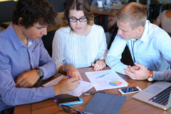 Business team negotiates talk and discuss Royalty Free Stock Image