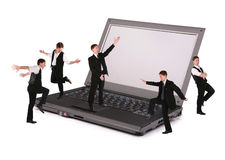 Business team on notebook collage Stock Images