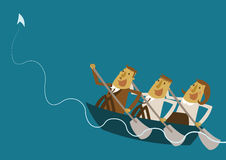 Business team oar a boat for high wave. Illustrator Stock Photography