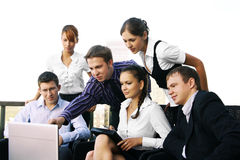 Business Team Of Six Persons Is Working Together Royalty Free Stock Images