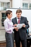 Business team in office meeting presentation conference Royalty Free Stock Photo