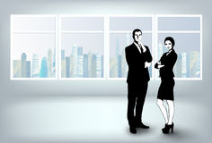 Business team in office vector illustration