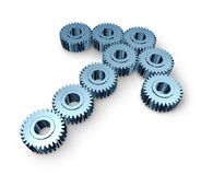 Business Team Opportunity. With industrial metal gears and cogs in the shape of an arrow as an icon of strong partnership strength and teamwork success working Royalty Free Stock Photo