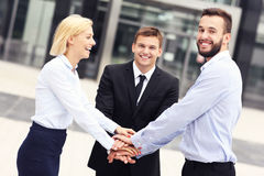 Business team outside modern building Stock Images