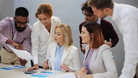 Business team with papers meeting at office stock footage