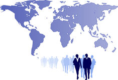 Business team partnership. Illustration of a business team with world map background Stock Photo