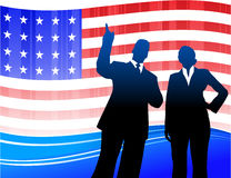 Business team on Patriotic American Flag Royalty Free Stock Images