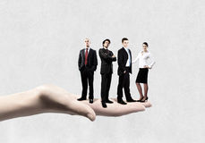 Business team. Business people of different professions standing on palm Stock Image