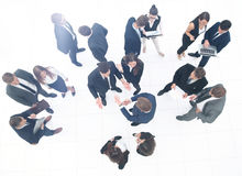 Business team people group crowd full length stand isolated on w Royalty Free Stock Images