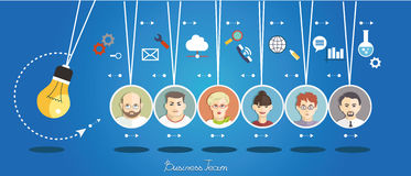Business team. Business people group over conceptual. Silhouettes of people on a background of business icons. Partnership. Mind Map Team stock illustration