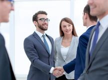 Business team and business people handshake royalty free stock photography