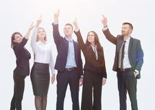 Business team pointing hands forward. Concept of purpose. business team pointing hands forward Stock Image