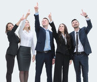Business team pointing hands forward Royalty Free Stock Images