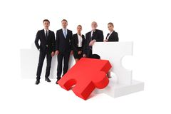 Business team and big puzzle Royalty Free Stock Photo
