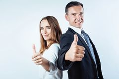 Business team posing with super gesture royalty free stock photography