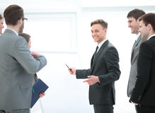 Business team preparing for a business presentation a modern off Royalty Free Stock Images