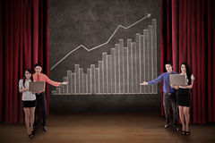 Business team present profit bar chart on stage royalty free illustration