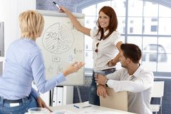 Business team at presentation. Businesswoman drawing diagram on whiteboard, smiling Stock Images