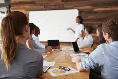 Business team at presentation, back view royalty free stock photography