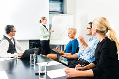 Business - team presentation on whiteboard Stock Images