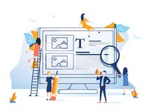 Business team presenting a website flat design style colorful illustration. Background computer internet technology. Business team presenting a website flat stock illustration