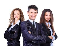 A business team with pretty leader Royalty Free Stock Photo