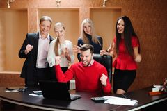 Business Team Professional Occupation Workplace Concept, people in office holding a conference and discussing strategies royalty free stock photos