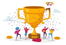 Free Business Team Project Success. Group Of People Characters Stand At Huge Golden Goblet Celebrate Victory Stock Photography - 180708482