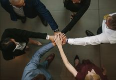 Business team putting hands together at the office. Top view of diverse business people joining hands for unity and teamwork Stock Photography