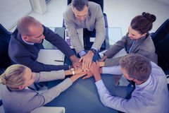Business team putting their hands together Royalty Free Stock Images