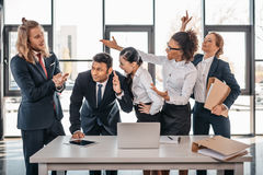 Business team quarreling in office, brainstorming team concept Royalty Free Stock Photo