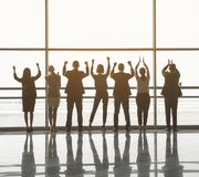Business team rejoicing their victory royalty free stock photo