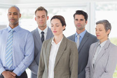 Business team relaxing eyes closed Royalty Free Stock Photos