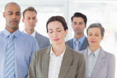 Business team relaxing eyes closed Royalty Free Stock Photo