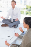 Business team relaxing eyes closed Stock Image