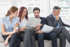 Business team reviewing work notes Royalty Free Stock Photography