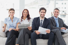 Business team reviewing work notes Royalty Free Stock Photos