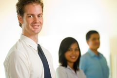 Business Team Row Caucasian Leader Royalty Free Stock Images