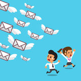 Business team run away from a lot of mails Stock Image
