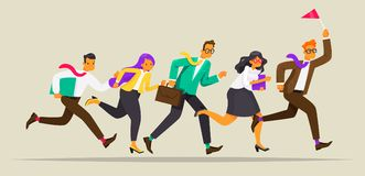 Business team runs for the leader with the flag. Way to success. Leadership concept. Vector illustration Royalty Free Stock Image