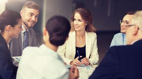 Business team with scheme meeting at office royalty free stock photos